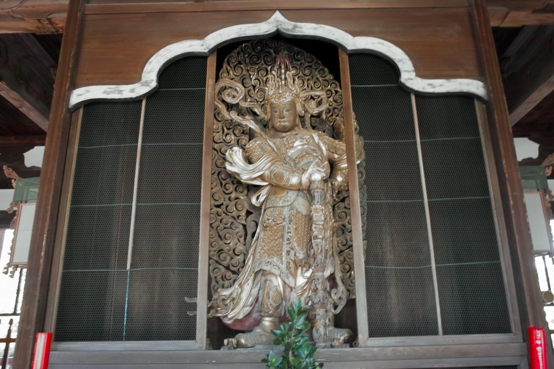 布袋像の背面の「韋駄天」