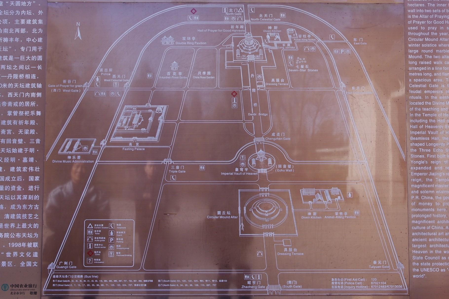 中心軸にそって、南から円丘壇、皇穹宇、祈年殿