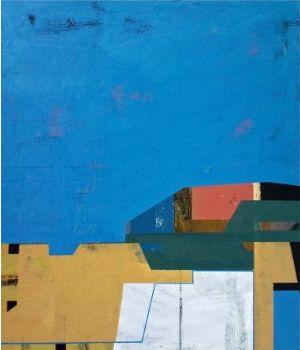 James Wallace Harris:  Nerima skyline 2, 2013, Öl auf Holz, 45,5 x 53 cm, Galerie SEHR Koblenz