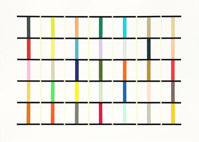 tape-sketch, Washi-Tapes auf Papier, gerahmt 50 x 60 cm, 2018