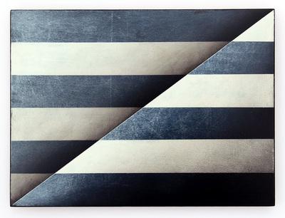 """""""I can´ t tell black from white, Carmen"""", Mischtechnik/Holz, 22,5 x 29,7 cm, 2016"""