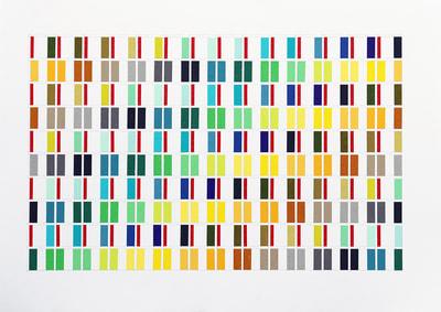 tape-sketch, Washi-Tapes und Bleistift auf Papier, gerahmt 50 x 60 cm, 2018