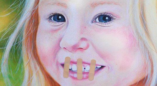 """""""Ida"""" - Acryl und Pflaster auf Leinen - 80x100cm - Doris Maria Weigl / Art  - """"Schweig, Kind... schweig!"""""""