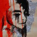 """""""Face 1"""" - Collage, Acryl und Tusche auf Papier - 25x30cm - Doris Maria Weigl"""