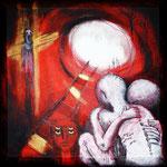 """Alone"" - Serie Angst - Acryl  auf Leinen - 30x30cm - Doris Maria Weigl / Art"
