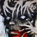 """""""Angriff"""" - Collage, Acryl und Tusche auf papier - 40x30cm - Doris Maria Weigl  - """"...von überall kommt es, das Böse, ich kann nicht mehr."""""""