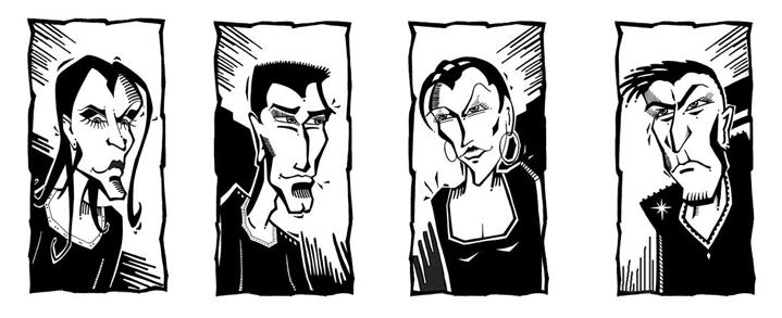 Typen - Vektorgrafik- Illustrationen Doris Maria Weigl / Comic