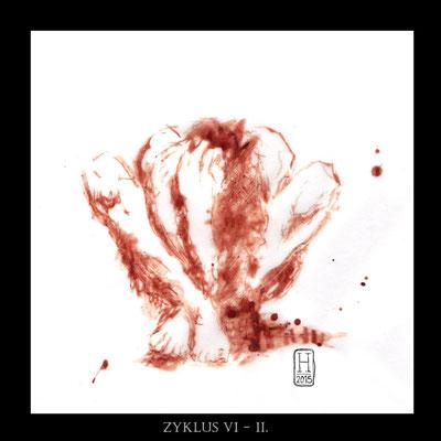 """CYCLE VI - II"" - Blut auf Pergament - 20x20cm - Doris Maria Weigl"
