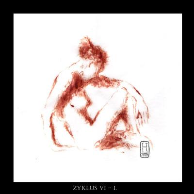 """CYCLE VI - I"" - Blut auf Pergament - 20x20cm - Doris Maria Weigl"