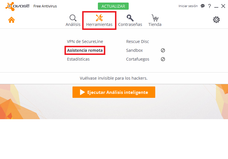 """PASO 1: Abre Avast Antivirus, pulsa la opción """"Herramientas"""", y seguidamente la opción """"Asistencia remota"""""""