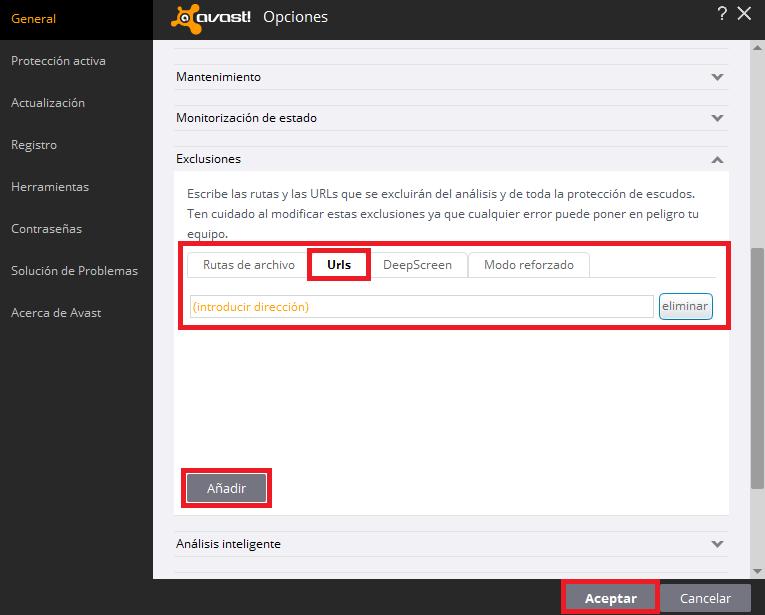 """Paso 3: Haz clic en la pestaña """"Urls"""", y ahí podrás ir añadiendo las páginas web / URLs / archivos que quieras excluir. Cuando las hayas puesto todas, pulsa """"aceptar""""."""