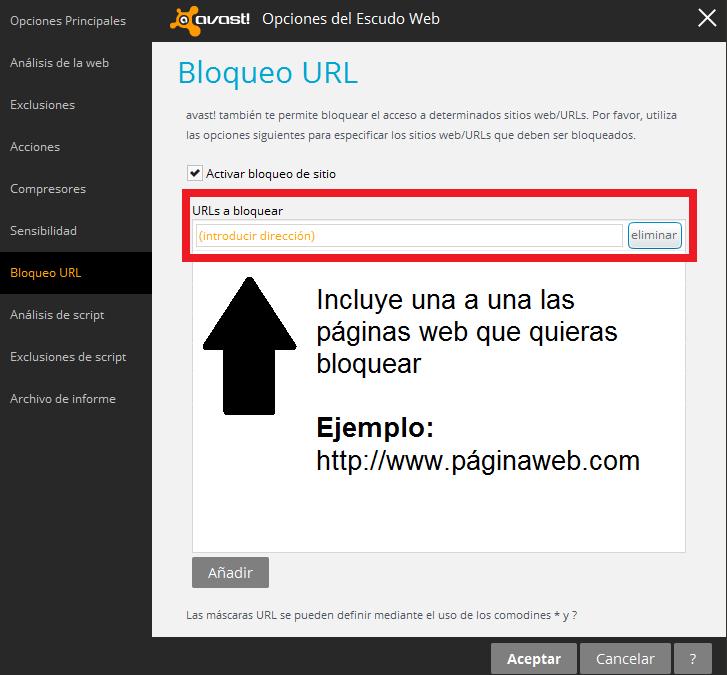 """Añade las páginas web que quieras bloquear y pulsa el botón """"añadir"""""""