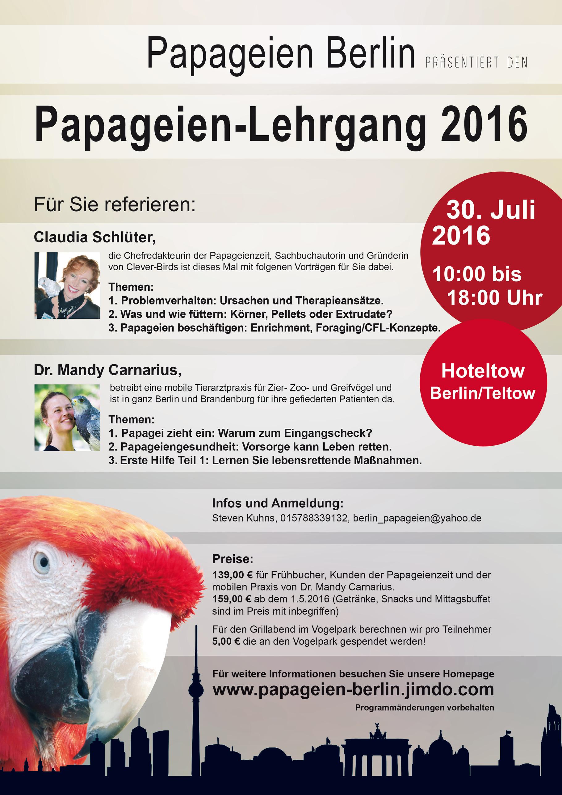 2. Papageien-Lehrgang 2016 - papageien-berlins Webseite!