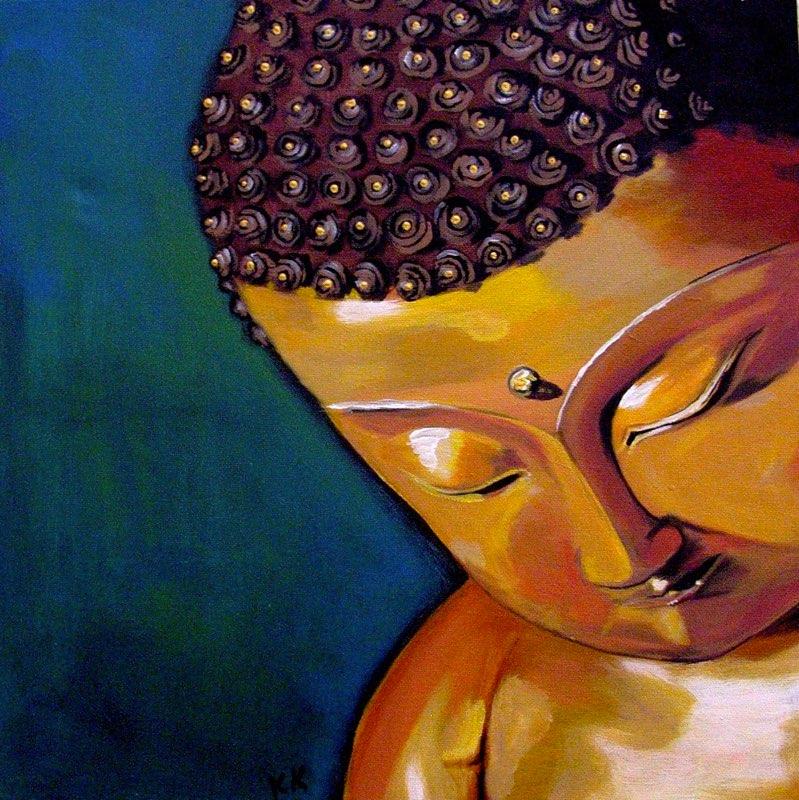 Kleiner Buddha - 40 x 40 cm, Acryl