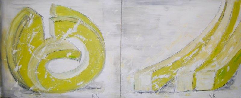 Green Parts - 2 x 70 x 100 cm, Acryl