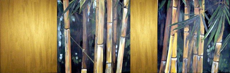 Bambus & Gold - 140 x 60 cm, Acryl