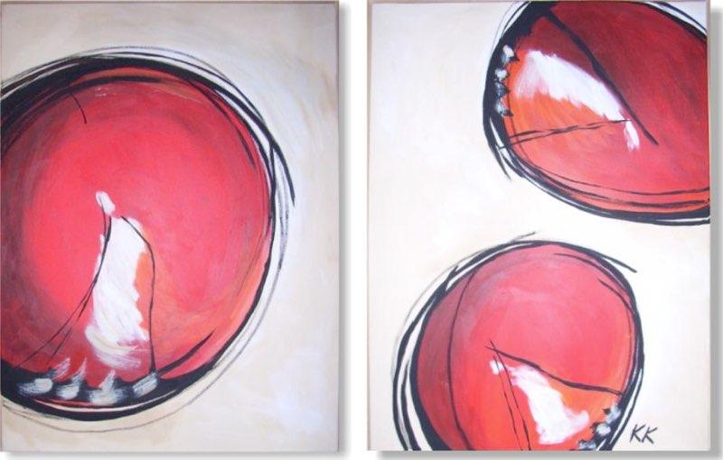 Bubbles red - 2 x 70 x 100 cm, Acryl
