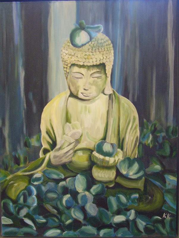 Buddha blau - 60 x 80 cm, Acryl & Kreide