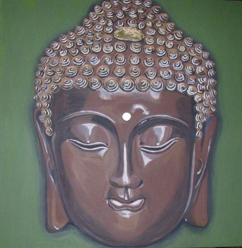 Buddha braun - 60 x 80 cm, Acryl