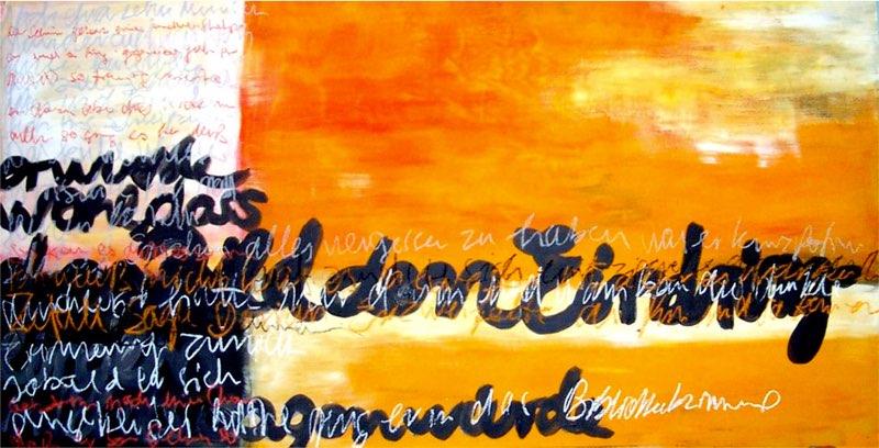 Orange - 100 x 140 cm, Acryl & Kreide