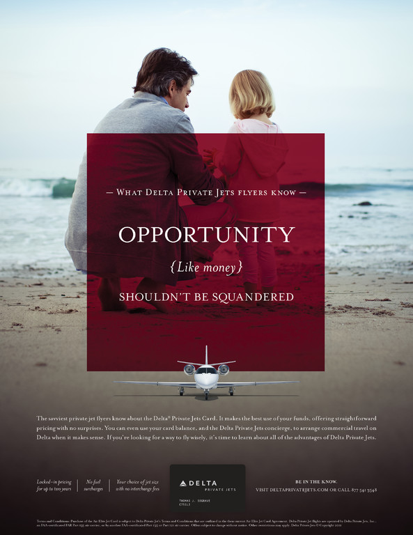 Print ad for Delta Private Jets.