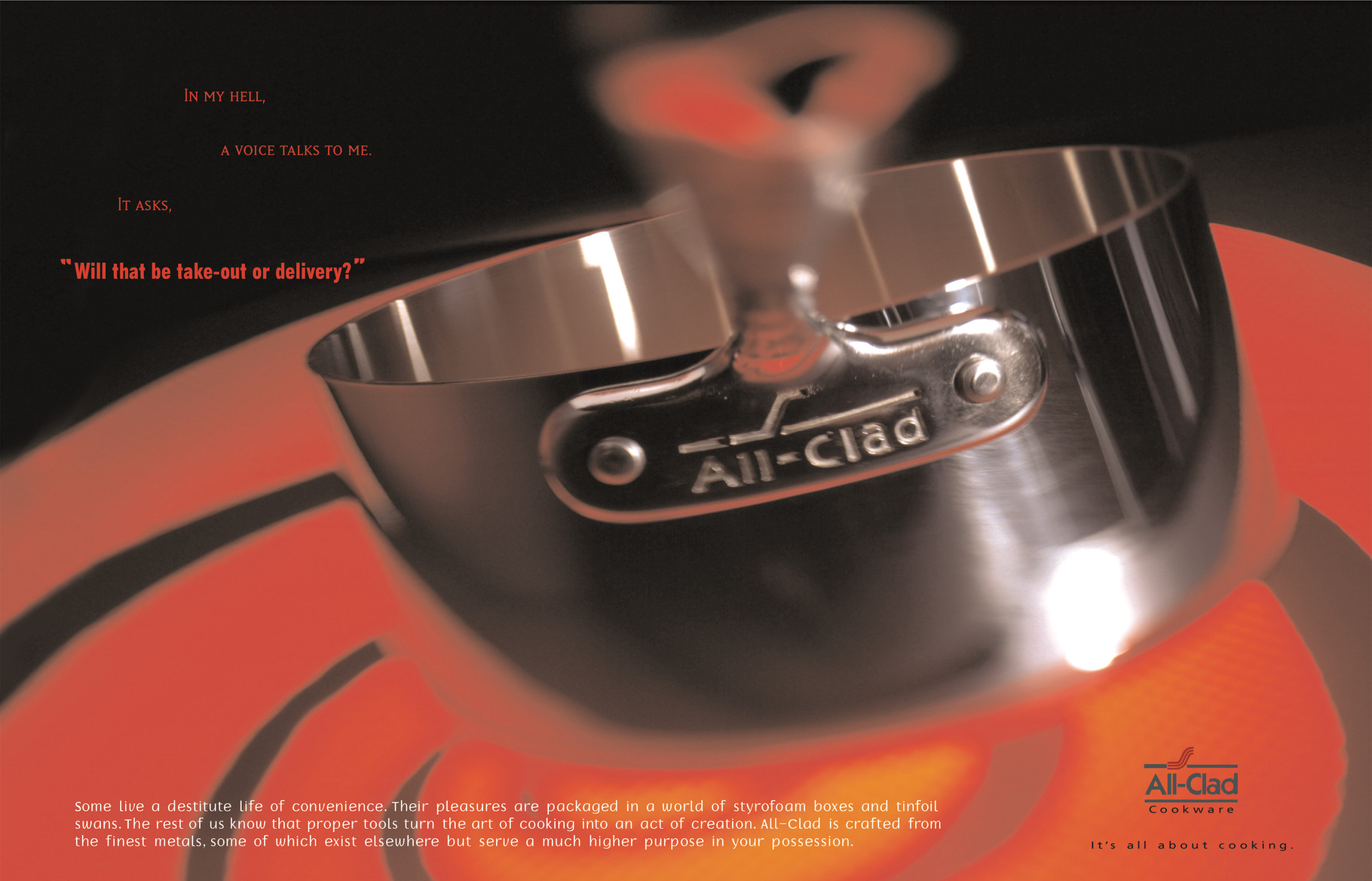 Print Ad for All-Clad, the cookware choice of people who truly love to cook.
