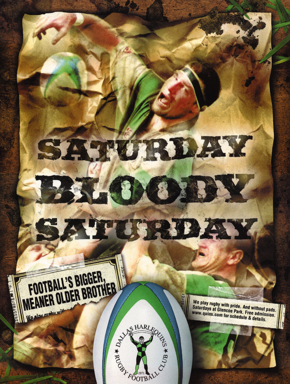 Poster for the Dallas Harlequins Rugby Club.