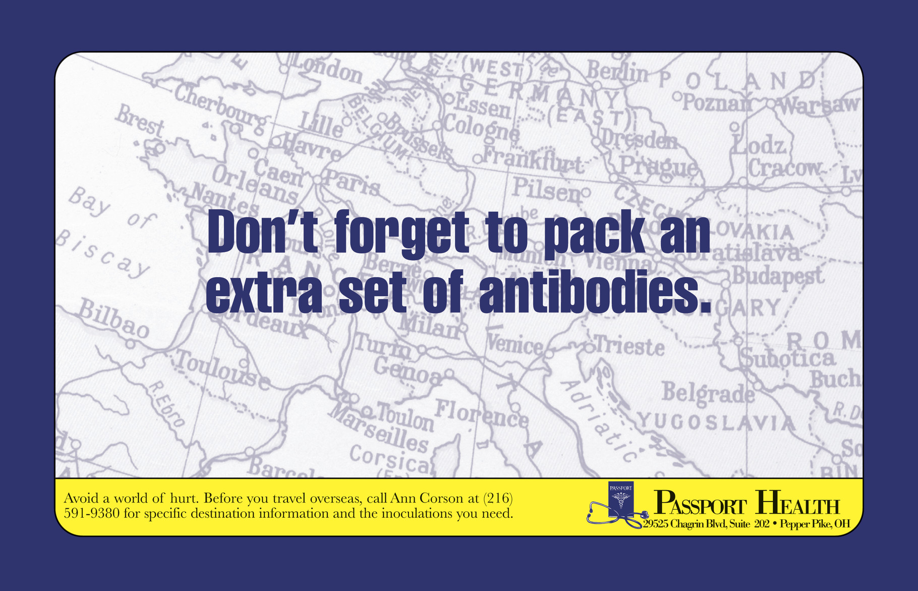 Ad & postcard for Passport Health, which provides vaccines and immunizations to travelers.