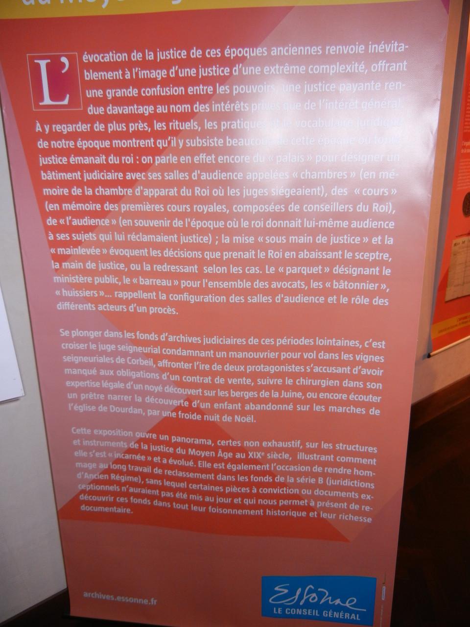 exposition dans le hall d'entrée : les lois sous la royauté