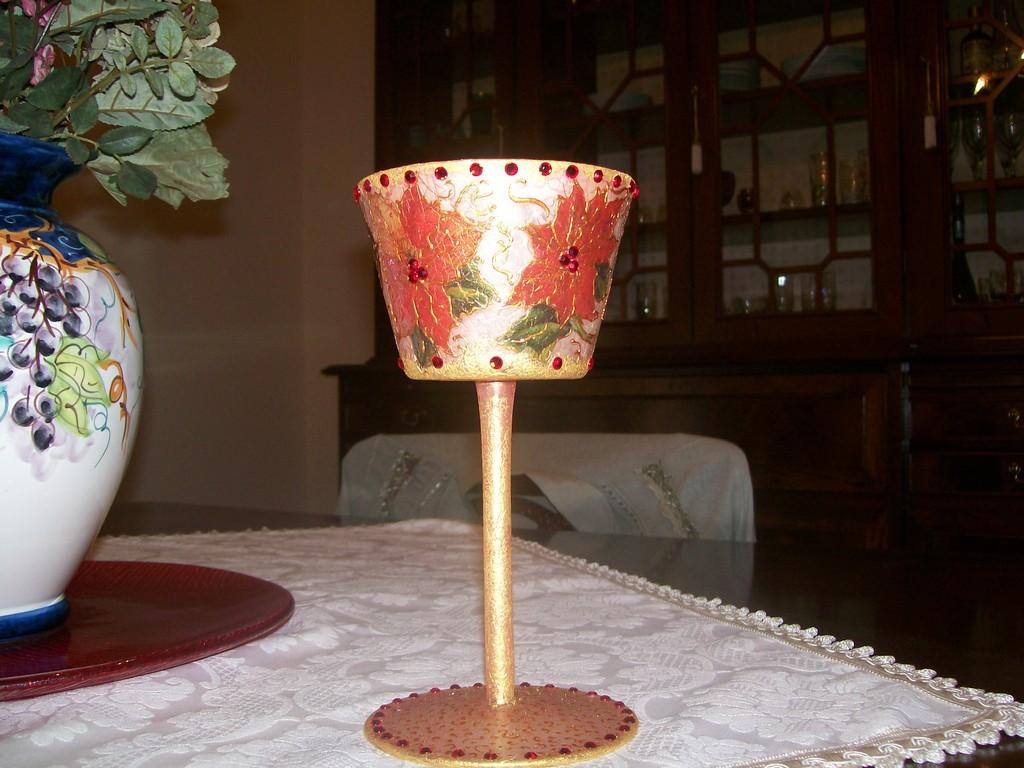 Porta candela natalizio, in vetro dec. tovagliolo