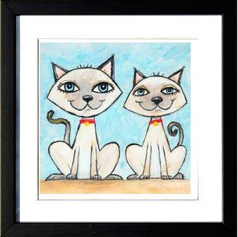 """""""Two Siamese Cats"""", 3-D Art Grafik, Limitierte Auflage, handsigniert, mit Rahmen 23 x 23 cm"""