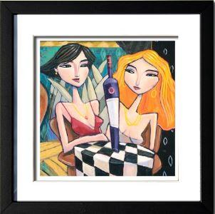 """""""Women and Wine"""", 3-D Art Grafik, Limitierte Auflage, handsigniert, mit Rahmen 23 x 23 cm"""
