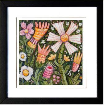 """""""Spring Flowers - I"""", 3-D Art Grafik, Limitierte Auflage, handsigniert, mit Rahmen 23 x 23 cm"""