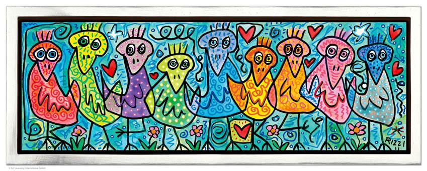 """""""Birds Of A Beautiful Color"""", Siebdruck auf Leinwand mit Schattenfuge, limitierte Auflage, 66 x 26 cm Rahmenmaß"""