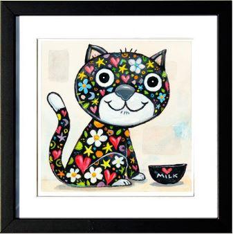 """""""Colorful Black Cat"""", 3-D Art Grafik, Limitierte Auflage, handsigniert, mit Rahmen 23 x 23 cm"""