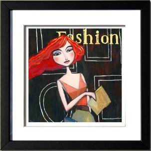 """""""Fashion"""", 3-D Art Grafik, Limitierte Auflage, handsigniert, mit Rahmen 23 x 23 cm"""