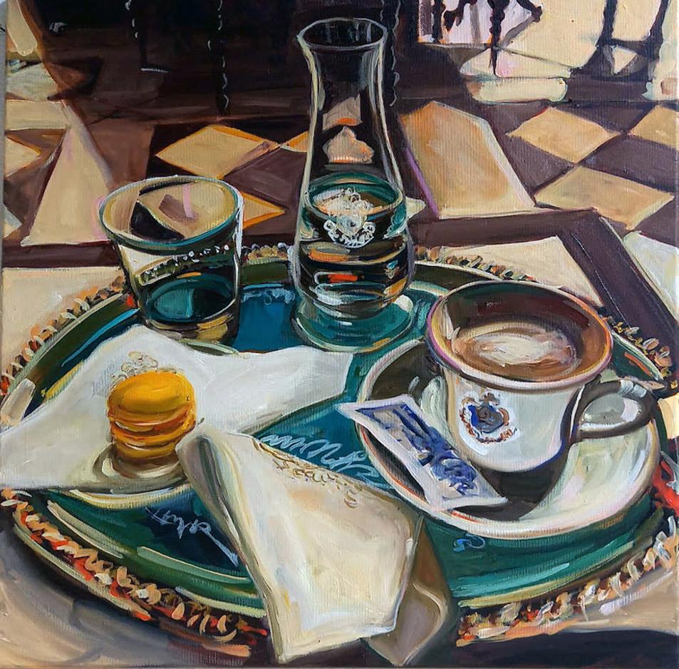 "Caroline Weihrauch, ""Caffe Florian"", 2021, Öl auf Leinwand, 50 x 50 cm"
