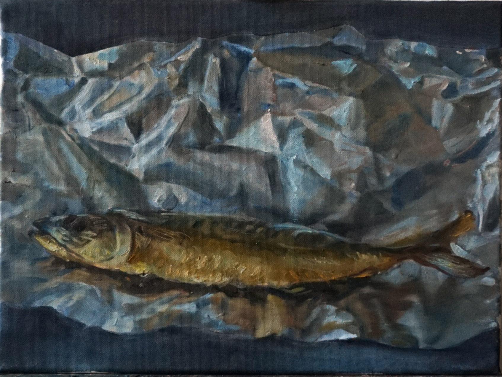 """Michail Schnittmann, """"Makrelentraum"""", 2019, Öl auf Leinwand, 70 x 50 cm"""