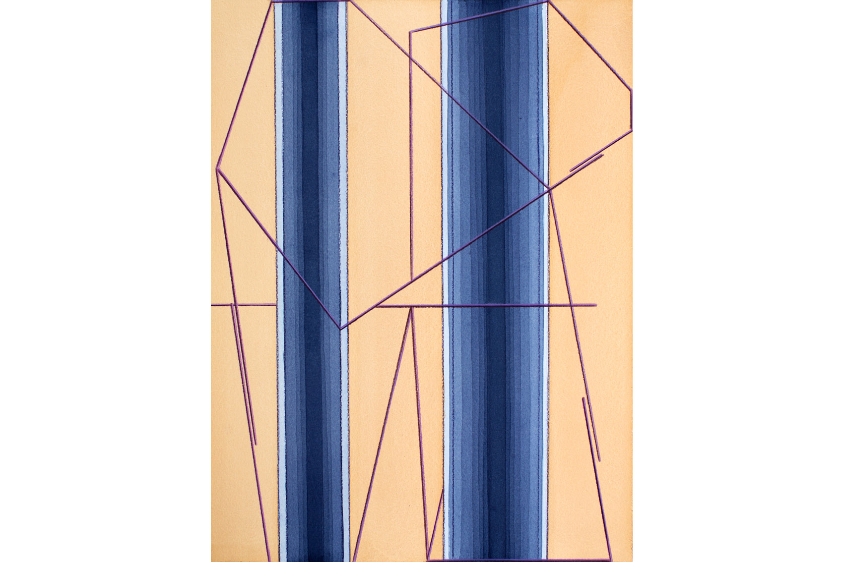 "Angelika Dierkes, ""Across #3"", 2021, Aquarell, Farbstift auf Bütten, 48 x 36 cm"