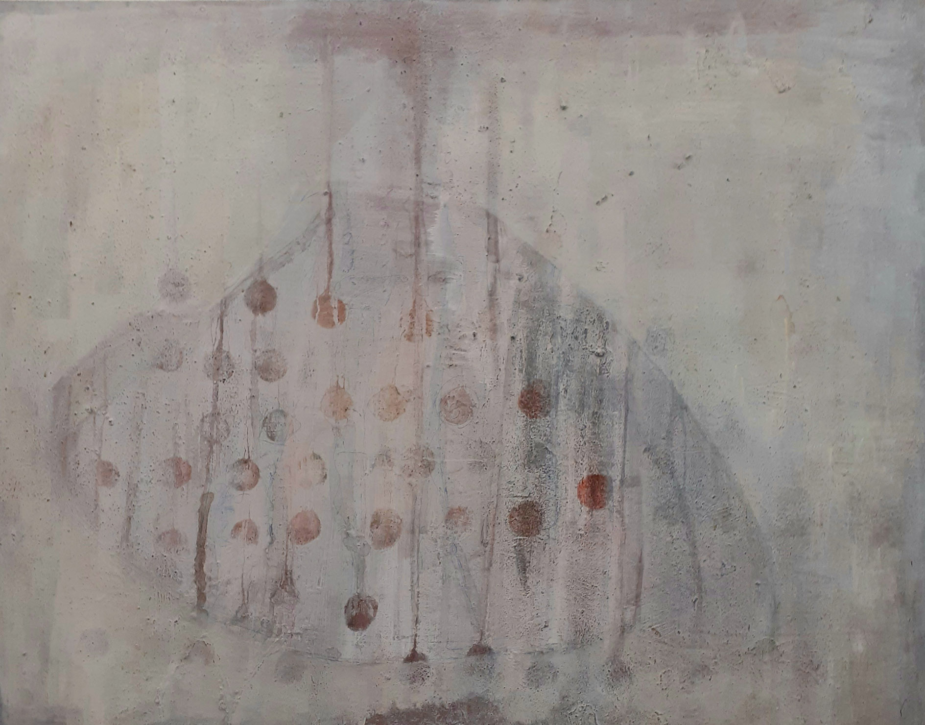 """Liane Birnberg, """"Kleid mit Tupfen"""",2020, MT/Leinwand, 130 x 160cm"""