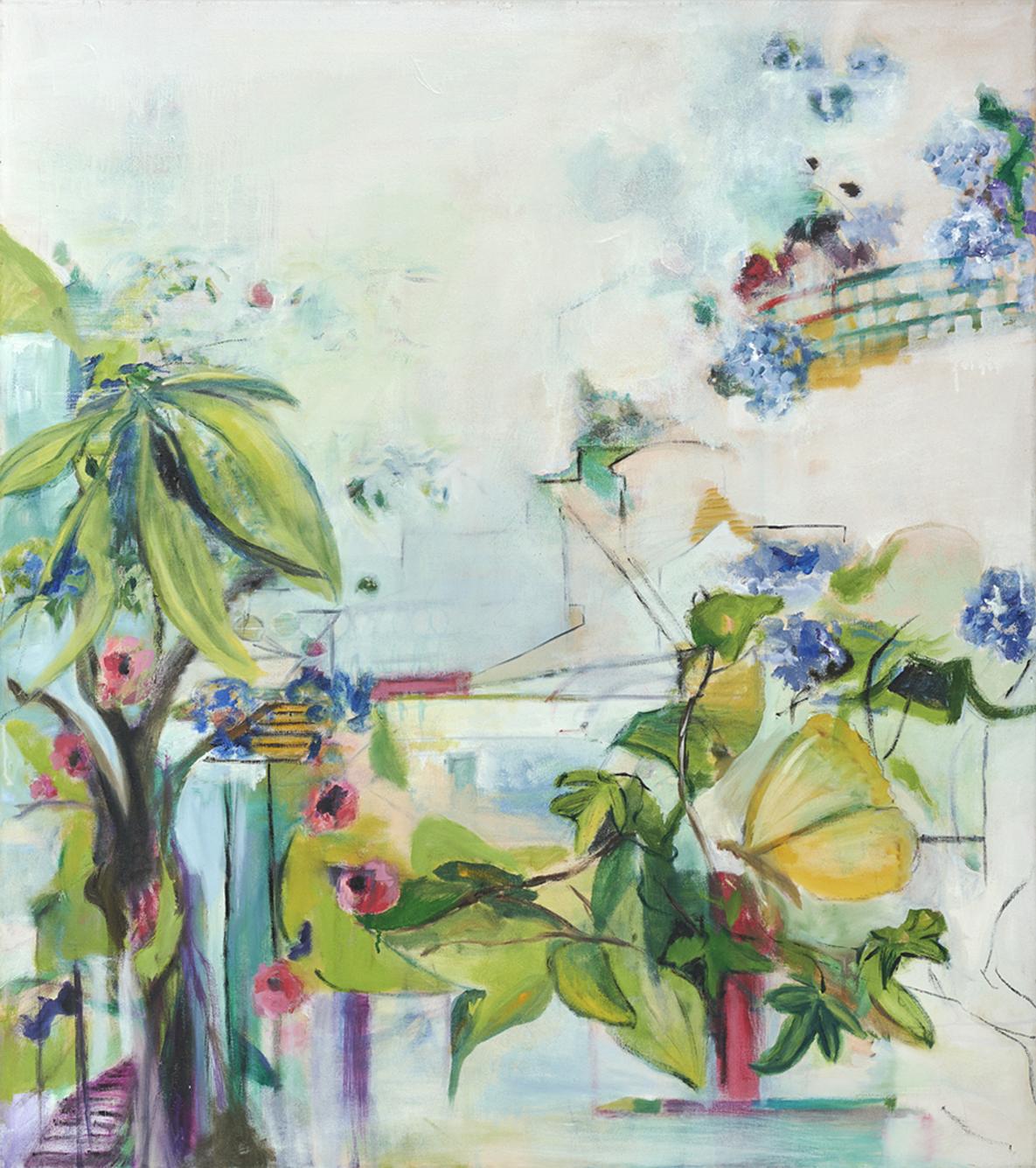"""Susanne Heitmann, """"Sommergarten"""", 2021, Öl auf Leinwand, 90 x 80 cm"""