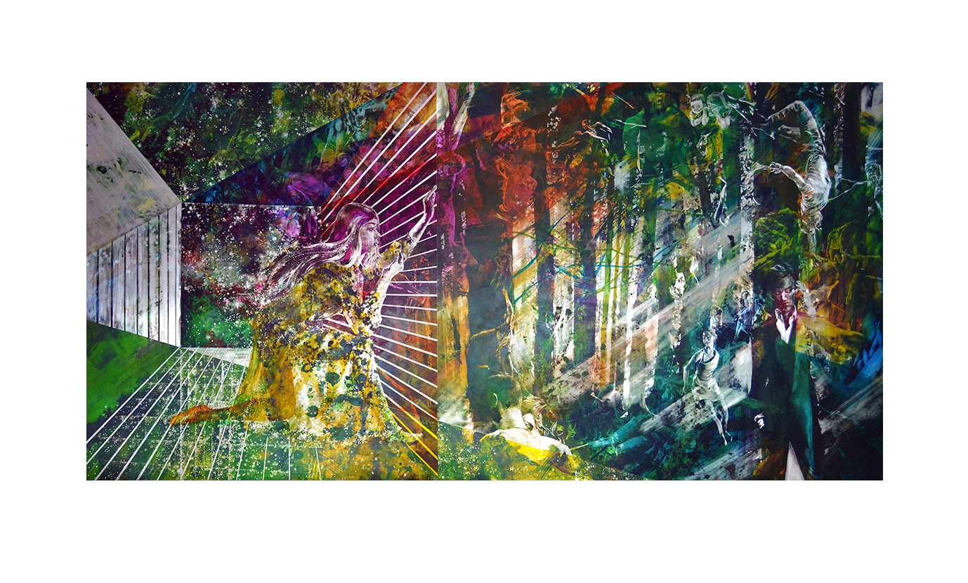 """SINN (Jin Aun Kim), """"Fairy Tale Between Meta And Inter"""", 2021, scratched and painted on aluminium, 100 x 200 cm"""