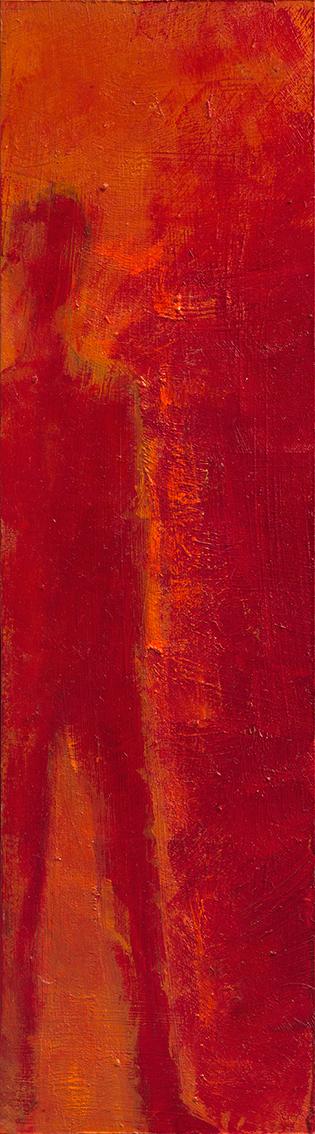 """Gabriele Schlesselmann, """"In der Mitte liegt der Scheitelpunkt"""", 2021, Acryl, Öl auf Bristolkarton, 29 x 8 cm"""