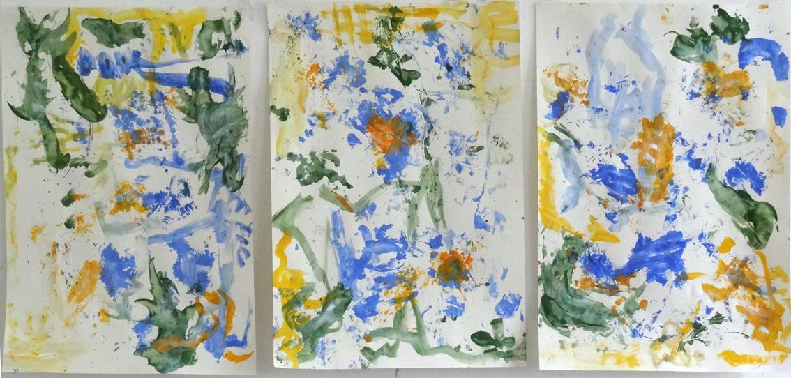 """Susanne Runge, """"Licht und Wasser"""", 2021, Acryl auf Papier, je 70 x 50 cm"""
