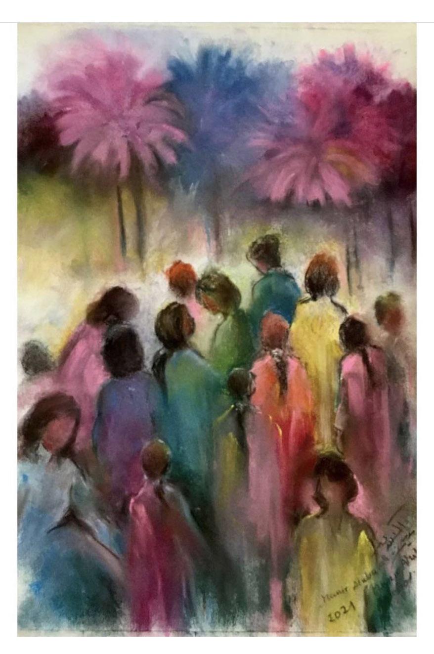"""Munir Alubaidi, """"Frauen und Palmen"""", 2021, Softpastell auf Papier, 35 x 45 cm"""
