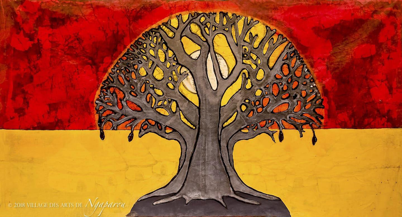 """Bassirou Sarr, """"Der Heiliger Baum"""", 2018, Mischtechnik auf Textil, 100 x 150 cm"""