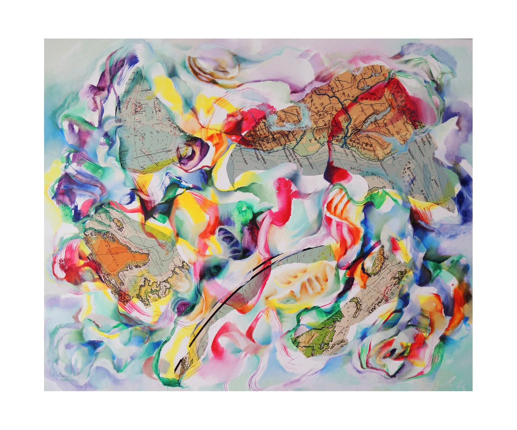 """Sabine Schneider, """"Bizarre Welten no.2"""", 2020, Collage/Öl auf Leinwand, 100 x 120 cm"""