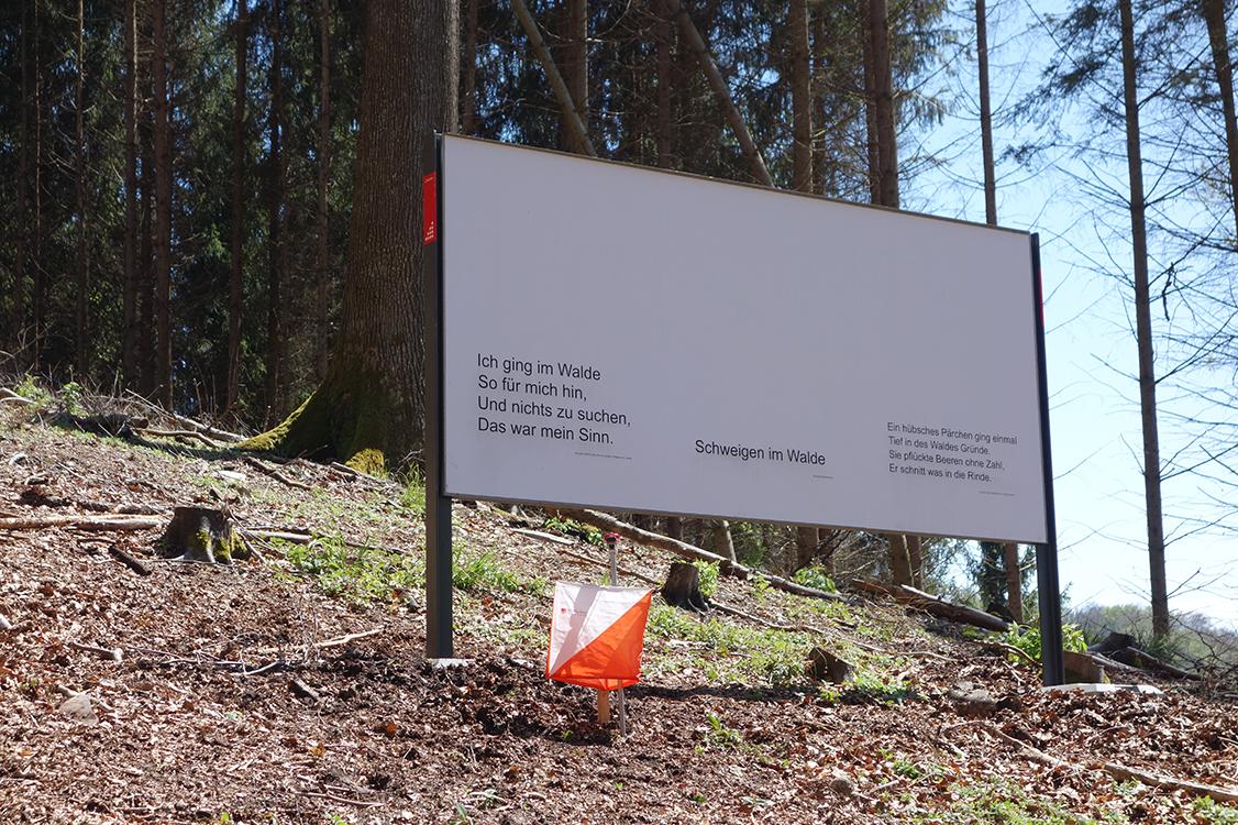 © Simone Zaugg, 2017,  Worte im Wald / 2017, Färnstu-Wald bei Burgdorf, CH