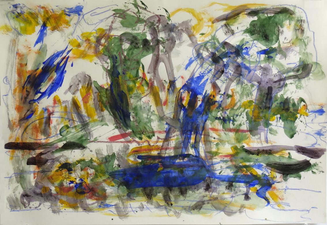 """Susanne Runge, """"See"""", 2021, Acryl, Farbstift auf Papier, 50 x 70 cm"""