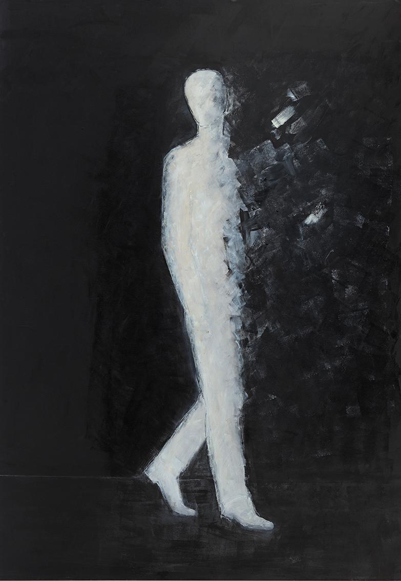 """Gabriele Schlesselmann, """"Hin- und hergerissen"""", 2018, Öl auf Nessel, 200 x 140 cm"""